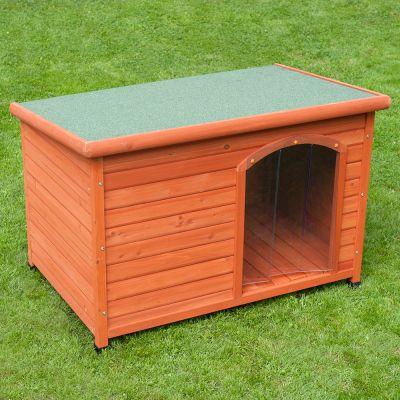 Bouda pro psy Woody s rovnou střechou a dvířky