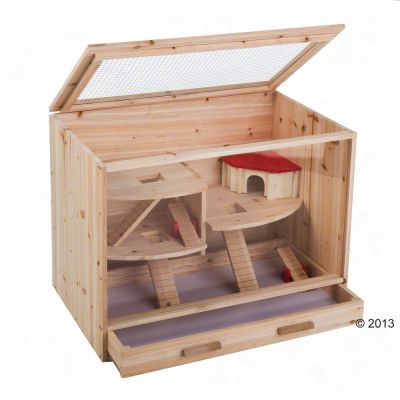cage en bois pour hamster souris et rat zooplus. Black Bedroom Furniture Sets. Home Design Ideas