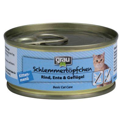 Grau Kitten getreidefrei mit Rind, Ente & Geflügel